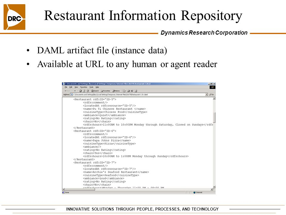 INNOVATIVE SOLUTIONS THROUGH PEOPLE, PROCESSES, AND TECHNOLOGY Dynamics Research Corporation Restaurant Information Repository DAML artifact file (instance data) Available at URL to any human or agent reader