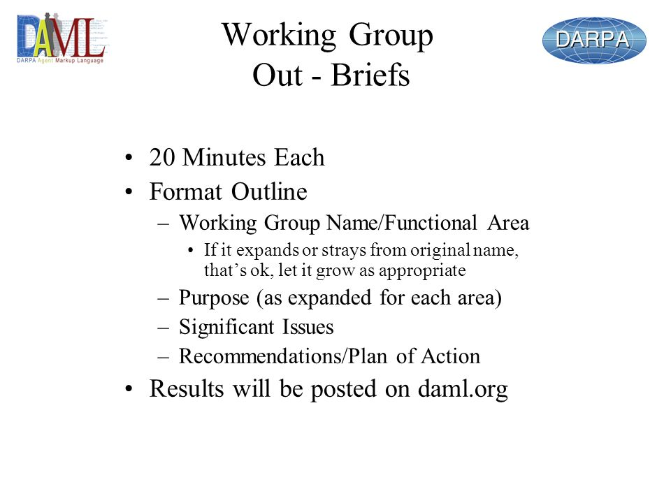 Working Group Out - Briefs 20 Minutes Each Format Outline –Working Group Name/Functional Area If it expands or strays from original name, thats ok, le