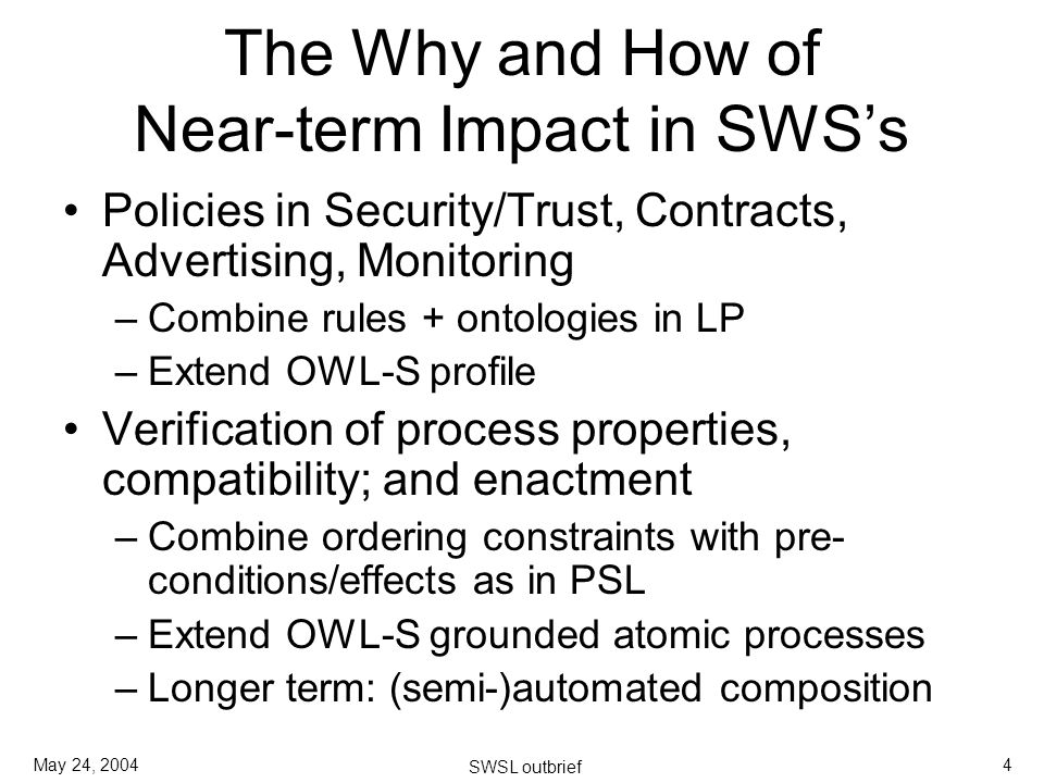 May 24, 2004 SWSL outbrief 4 The Why and How of Near-term Impact in SWSs Policies in Security/Trust, Contracts, Advertising, Monitoring –Combine rules + ontologies in LP –Extend OWL-S profile Verification of process properties, compatibility; and enactment –Combine ordering constraints with pre- conditions/effects as in PSL –Extend OWL-S grounded atomic processes –Longer term: (semi-)automated composition