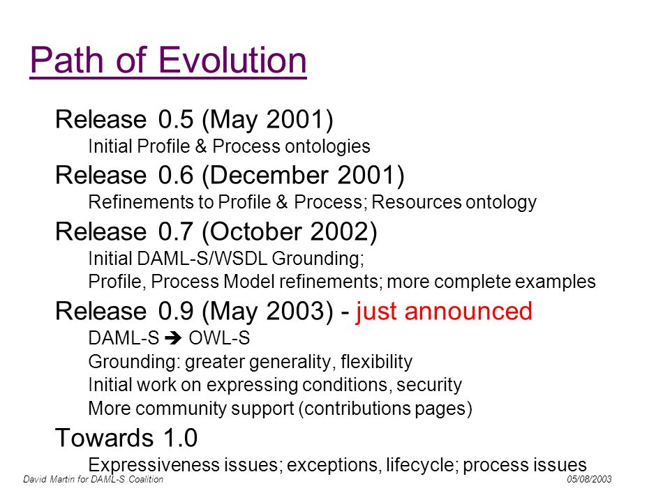 David Martin for DAML-S Coalition 05/08/2003 Path of Evolution Release 0.5 (May 2001) Initial Profile & Process ontologies Release 0.6 (December 2001)