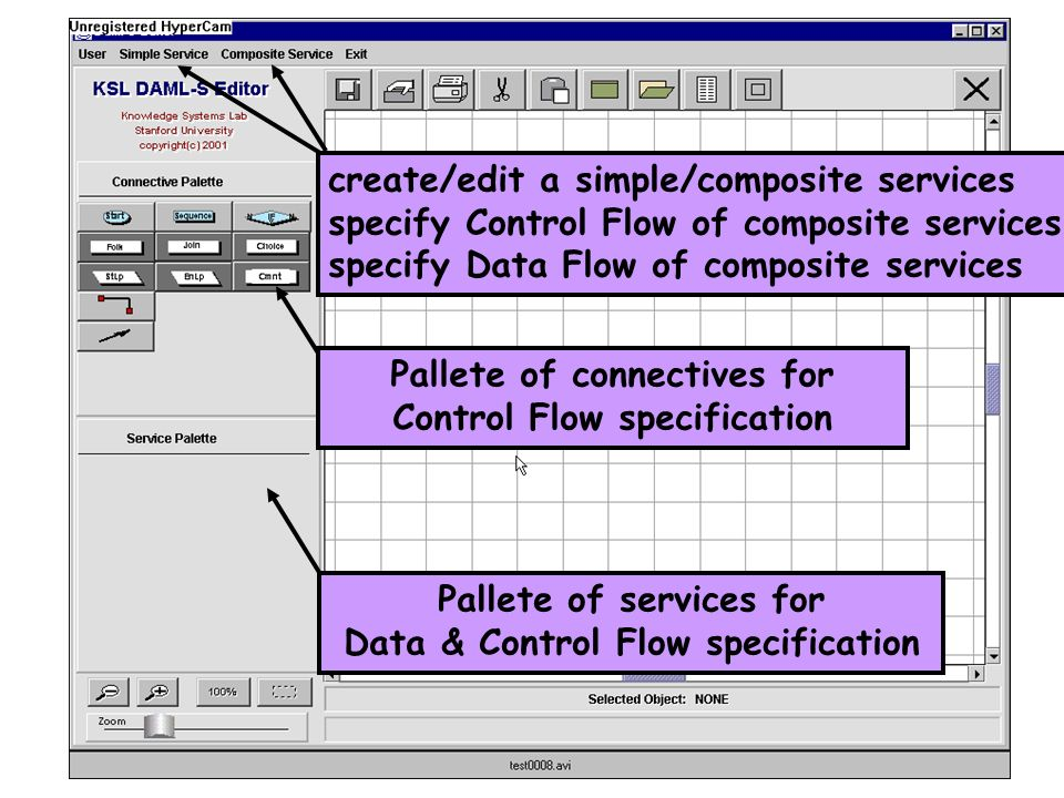 create/edit a simple/composite services specify Control Flow of composite services specify Data Flow of composite services Pallete of services for Data & Control Flow specification Pallete of connectives for Control Flow specification