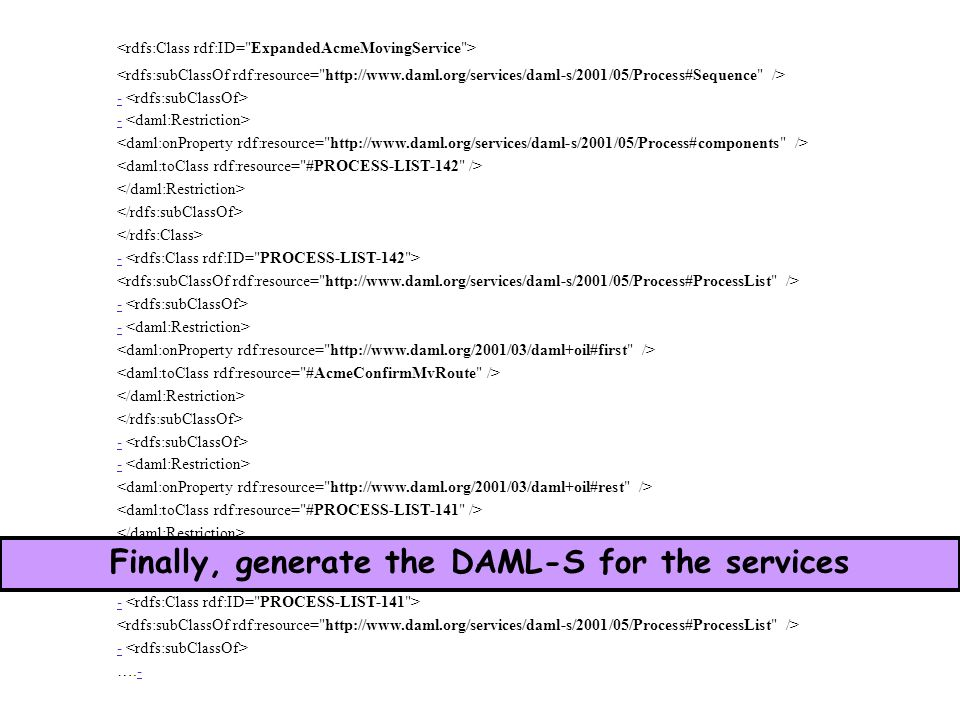 - - - - - - ….-- Finally, generate the DAML-S for the services