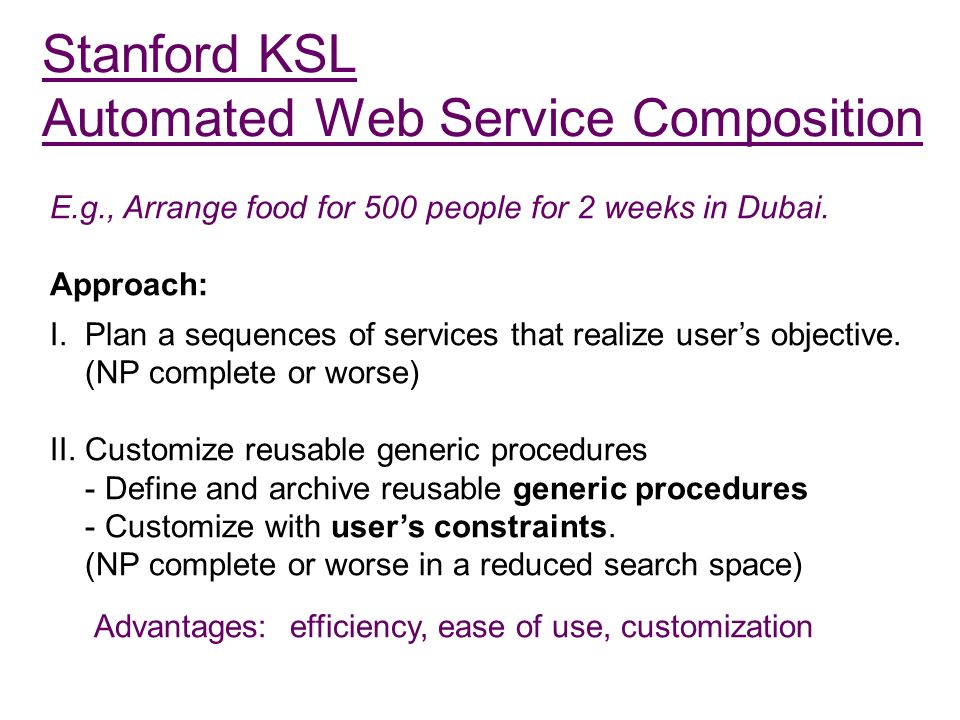 Stanford KSL Automated Web Service Composition E.g., Arrange food for 500 people for 2 weeks in Dubai.