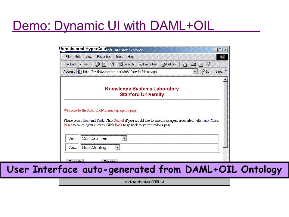 Demo: Dynamic UI with DAML+OIL User Interface auto-generated from DAML+OIL Ontology