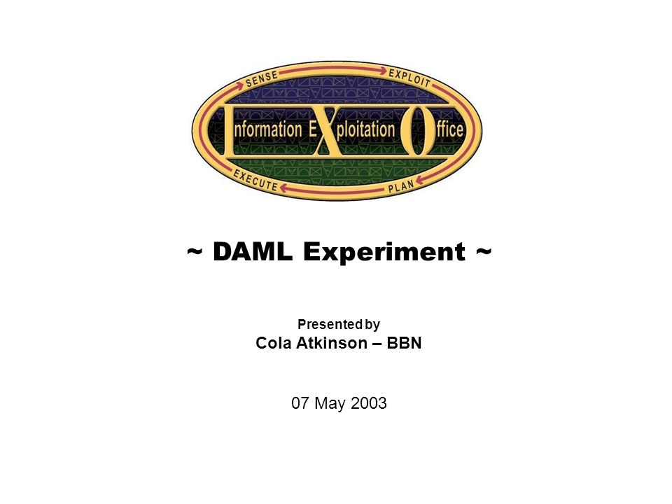 Cover Slide ~ DAML Experiment ~ Presented by Cola Atkinson – BBN 07 May 2003