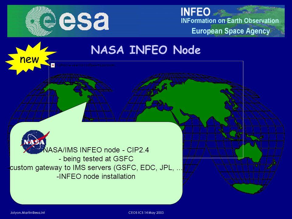 Jolyon.Martin@esa,intCEOS ICS 14 May 2003 NASA INFEO Node NASA/IMS INFEO node - CIP2.4 - being tested at GSFC -custom gateway to IMS servers (GSFC, EDC, JPL,...) -INFEO node installation new
