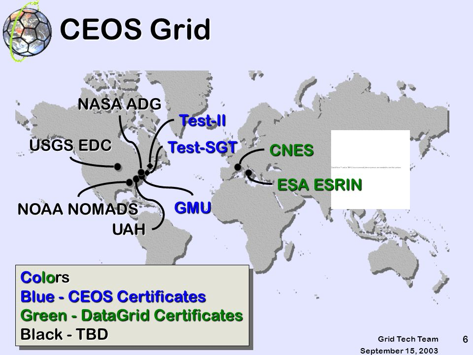 September 15, 2003 Grid Tech Team 7 CEOS Grid - CAs CEOS Grid Users will not all have the same CA We want to limit the number of CAs to the smallest possible set.