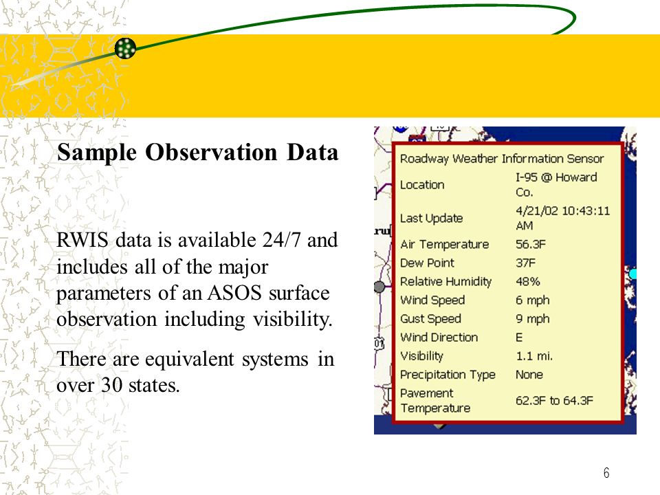 6 Sample Observation Data RWIS data is available 24/7 and includes all of the major parameters of an ASOS surface observation including visibility.