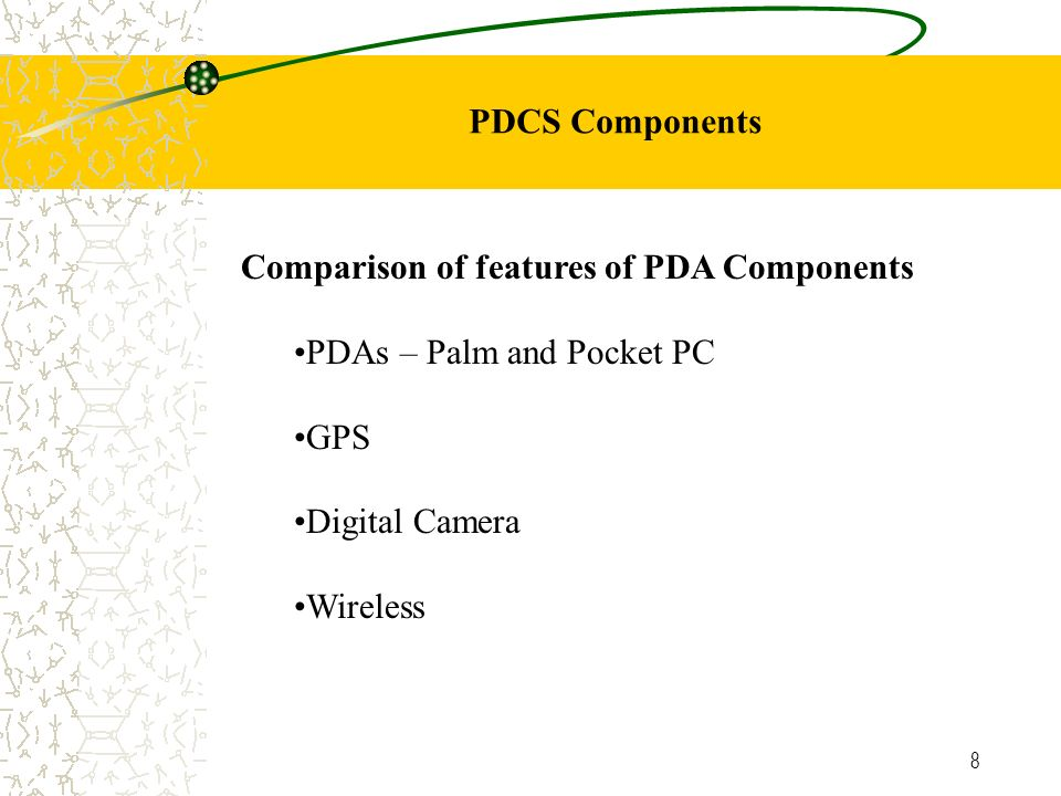 8 PDCS Components Comparison of features of PDA Components PDAs – Palm and Pocket PC GPS Digital Camera Wireless
