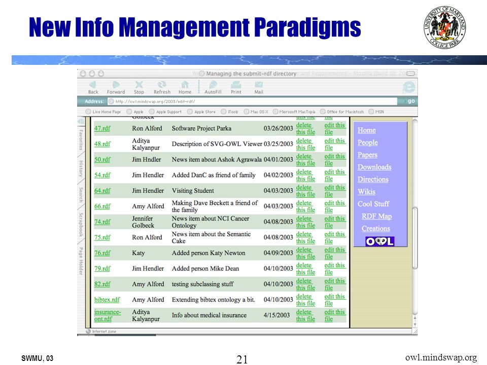 SWMU, 03 21 owl.mindswap.org New Info Management Paradigms