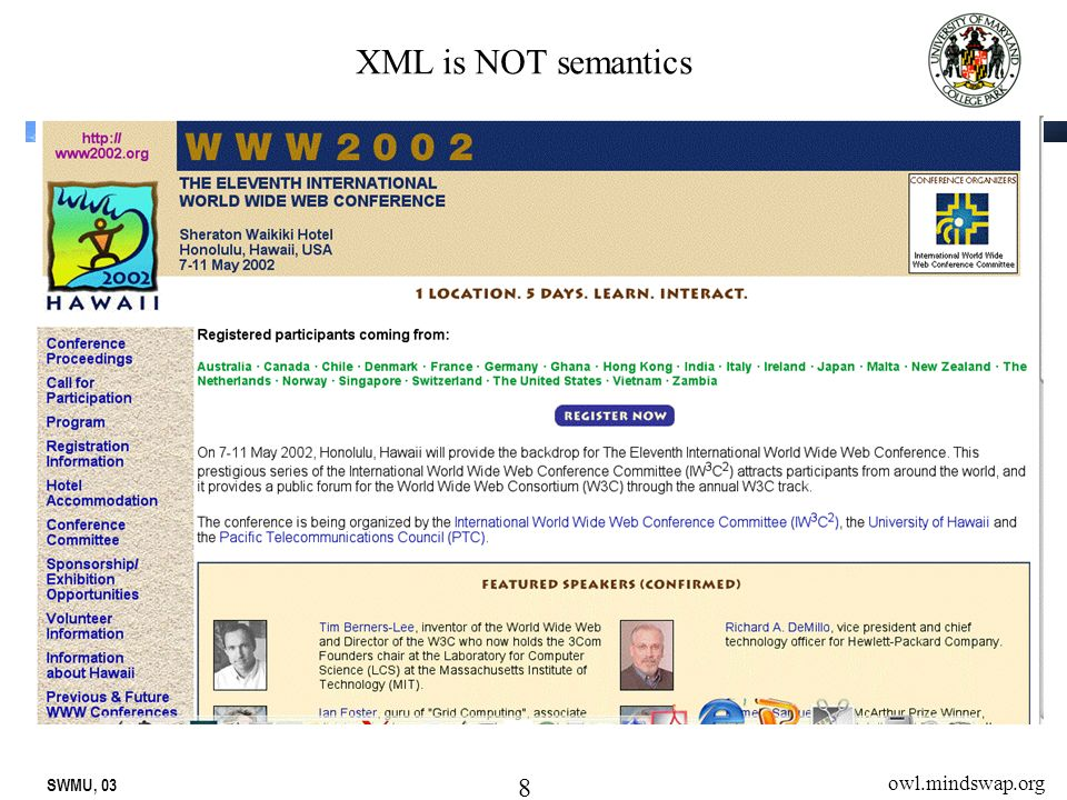 SWMU, 03 8 owl.mindswap.org XML is NOT semantics
