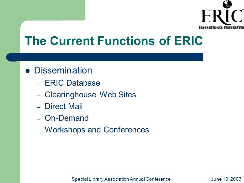 June 10, 2003Special Library Association Annual Conference The Current Functions of ERIC Dissemination – ERIC Database – Clearinghouse Web Sites – Dir