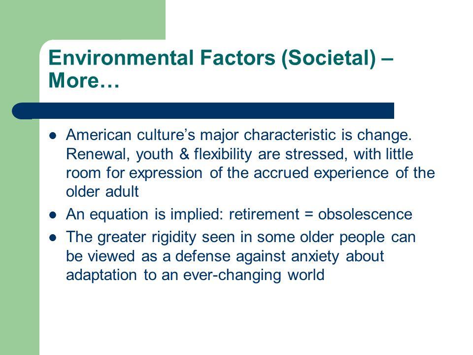 Environmental Factors (Societal) – More… American cultures major characteristic is change.