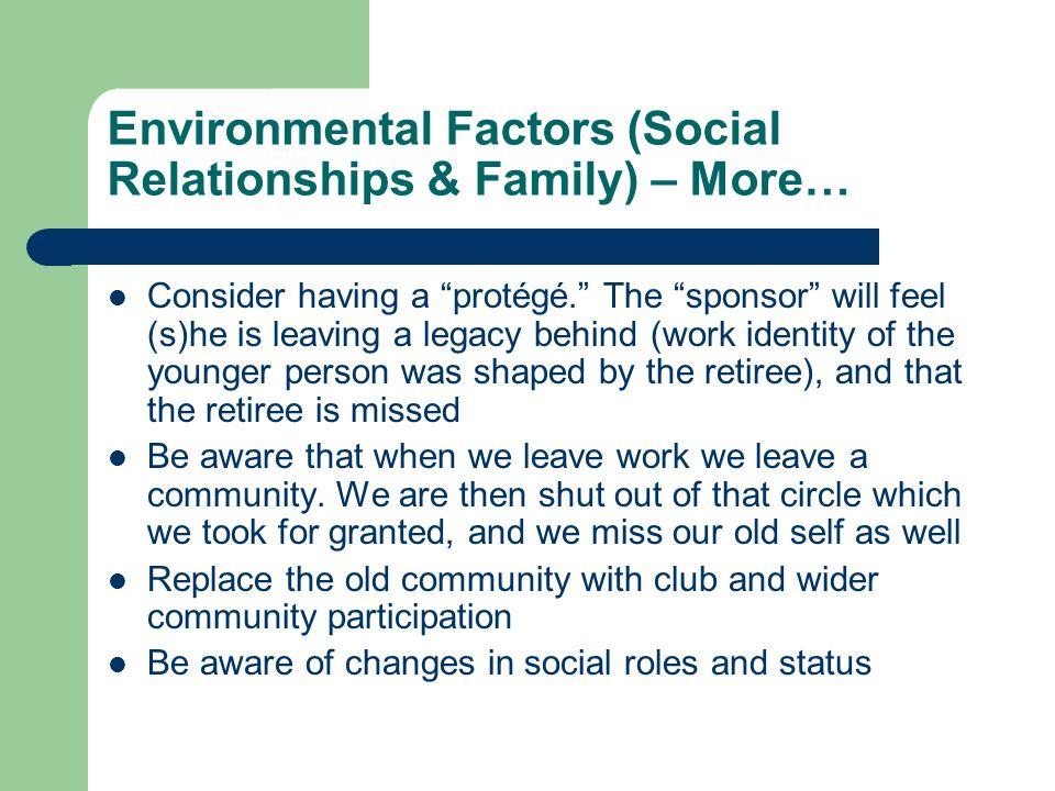 Environmental Factors (Social Relationships & Family) – More… Consider having a protégé.