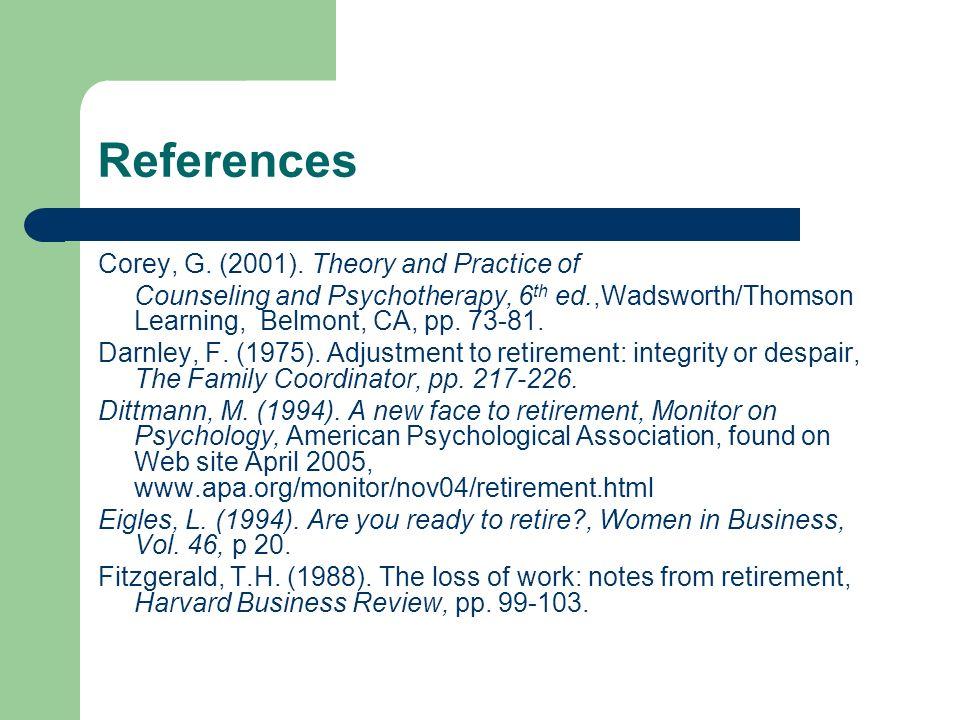References Corey, G. (2001).