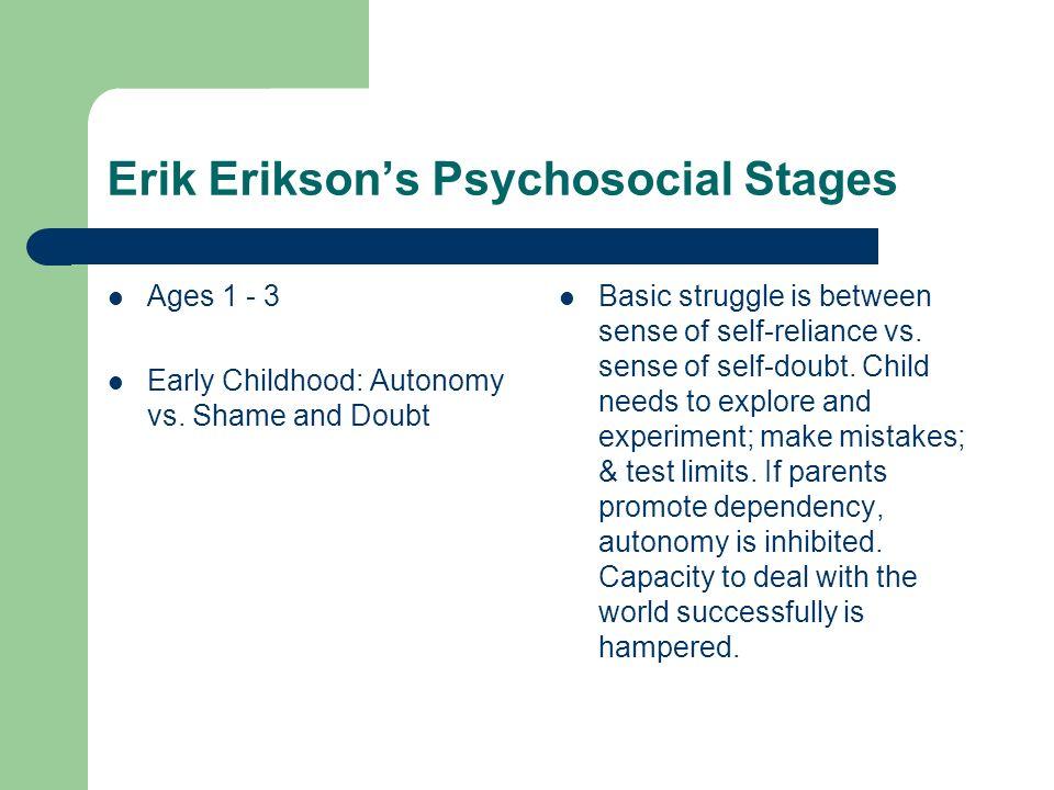 Erik Eriksons Psychosocial Stages Ages 3 - 6 Preschool Age: Initiative vs.
