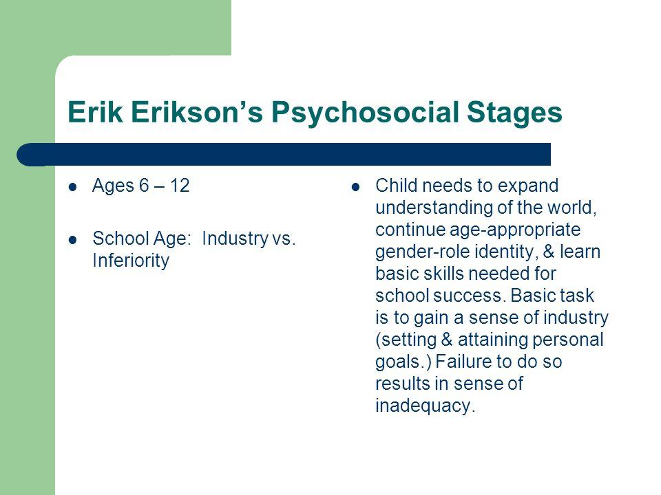Erik Eriksons Psychosocial Stages Ages 12 – 18 Adolescence: Identity vs.