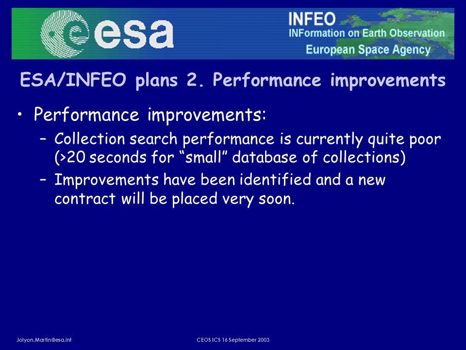 Jolyon.Martin@esa,intCEOS ICS 16 September 2003 ESA/INFEO plans 2. Performance improvements Performance improvements: –Collection search performance i