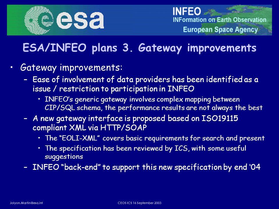 Jolyon.Martin@esa,intCEOS ICS 16 September 2003 ESA/INFEO plans 3. Gateway improvements Gateway improvements: –Ease of involvement of data providers h