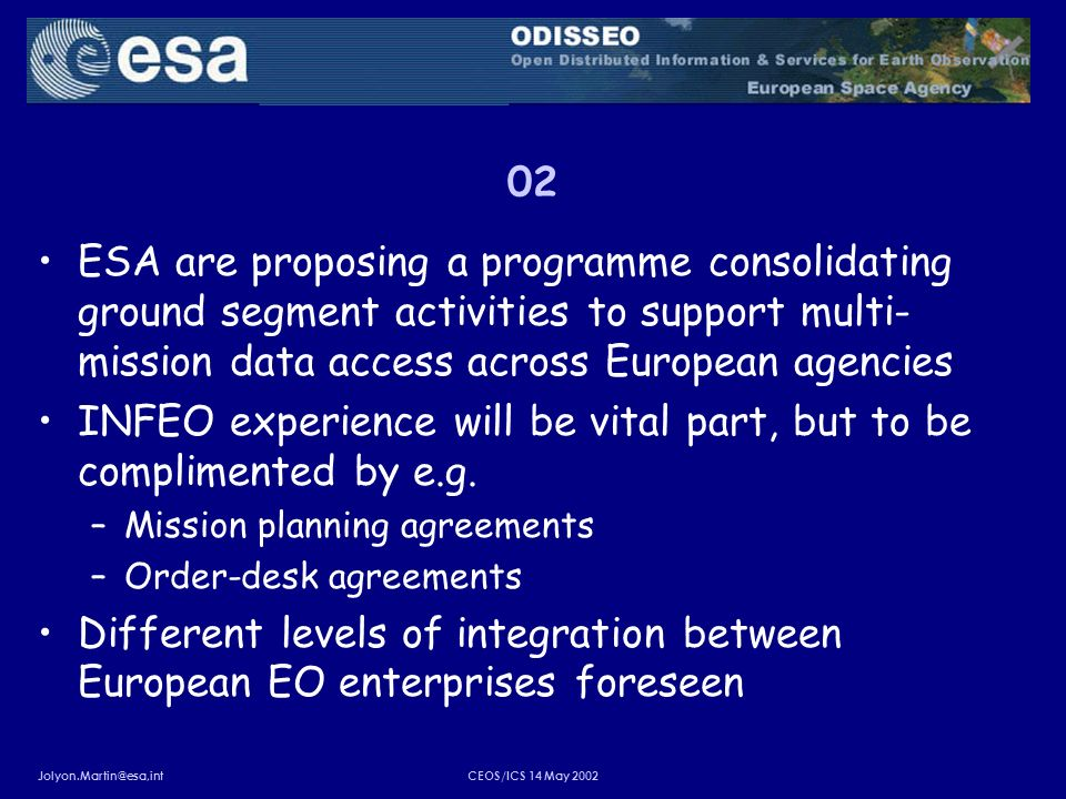 Jolyon.Martin@esa,intCEOS/ICS 14 May 2002 02 ESA are proposing a programme consolidating ground segment activities to support multi- mission data acce