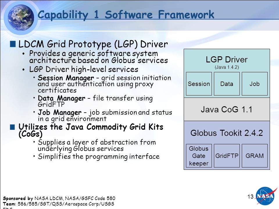 Sponsored by NASA LDCM, NASA/GSFC Code 580 Team: 586/585/SGT/QSS/Aerospace Corp/USGS EDC 13 LGP Driver (Java 1.4.2) Data Capability 1 Software Framework LDCM Grid Prototype (LGP) Driver Provides a generic software system architecture based on Globus services LGP Driver high-level services Session Manager – grid session initiation and user authentication using proxy certificates Data Manager – file transfer using GridFTP Job Manager – job submission and status in a grid environment Utilizes the Java Commodity Grid Kits (CoGs) Supplies a layer of abstraction from underlying Globus services Simplifies the programming interface Java CoG 1.1 SessionJob Globus Tookit Globus Gate keeper GRAMGridFTP