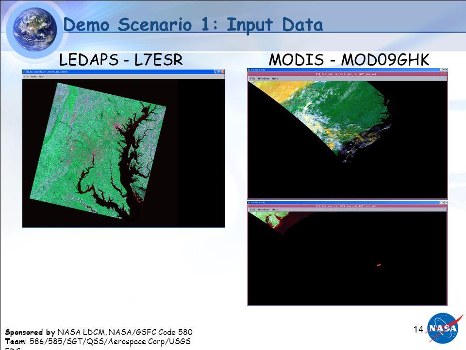 Sponsored by NASA LDCM, NASA/GSFC Code 580 Team: 586/585/SGT/QSS/Aerospace Corp/USGS EDC 14 Demo Scenario 1: Input Data LEDAPS - L7ESRMODIS - MOD09GHK