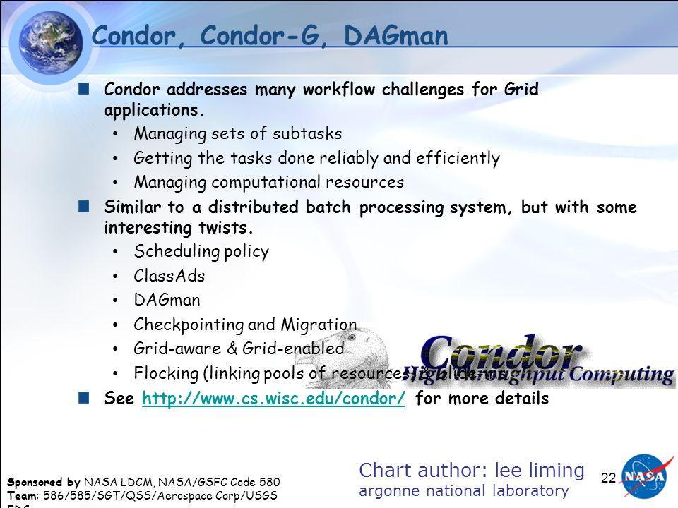 Sponsored by NASA LDCM, NASA/GSFC Code 580 Team: 586/585/SGT/QSS/Aerospace Corp/USGS EDC 22 Condor, Condor-G, DAGman Condor addresses many workflow ch