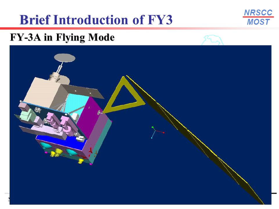 NRSCC MOST National Remote Sensing Center of ChinaWGISS-22 September 11-15, Annapolis, USA 25 Brief Brief Introduction of FY3 FY-3A in Flying Mode