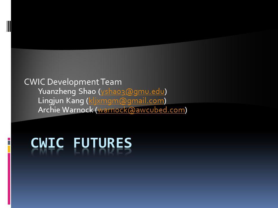 CWIC Development Team Yuanzheng Shao (yshao3@gmu.edu)yshao3@gmu.edu Lingjun Kang (kljxmgm@gmail.com)kljxmgm@gmail.com Archie Warnock (warnock@awcubed.com)warnock@awcubed.com