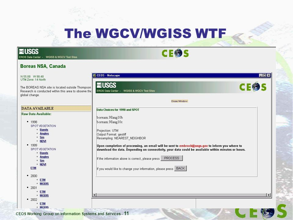 CEOS Working Group on Information Systems and Services - 11 The WGCV/WGISS WTF