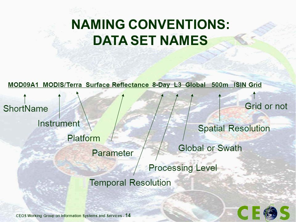 CEOS Working Group on Information Systems and Services - 14 NAMING CONVENTIONS: DATA SET NAMES MOD09A1 MODIS/Terra Surface Reflectance 8-Day L3 Global