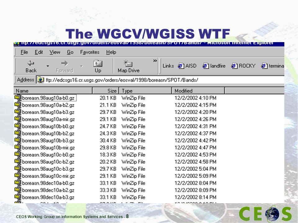 CEOS Working Group on Information Systems and Services - 8 The WGCV/WGISS WTF