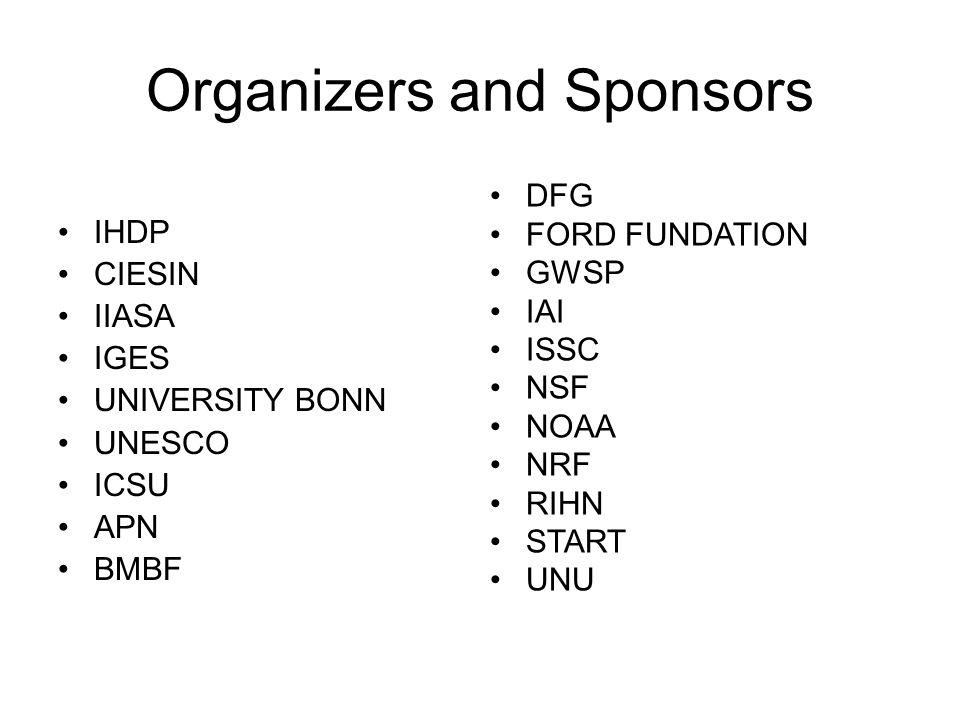 Organizers and Sponsors IHDP CIESIN IIASA IGES UNIVERSITY BONN UNESCO ICSU APN BMBF DFG FORD FUNDATION GWSP IAI ISSC NSF NOAA NRF RIHN START UNU