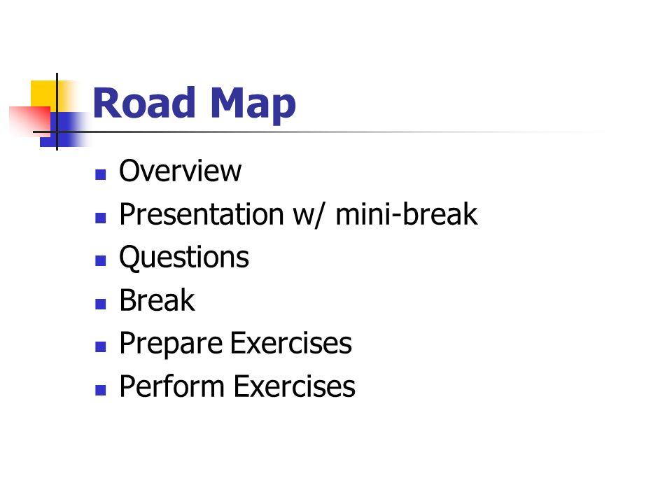 Road Map Overview Presentation w/ mini-break Questions Break Prepare Exercises Perform Exercises