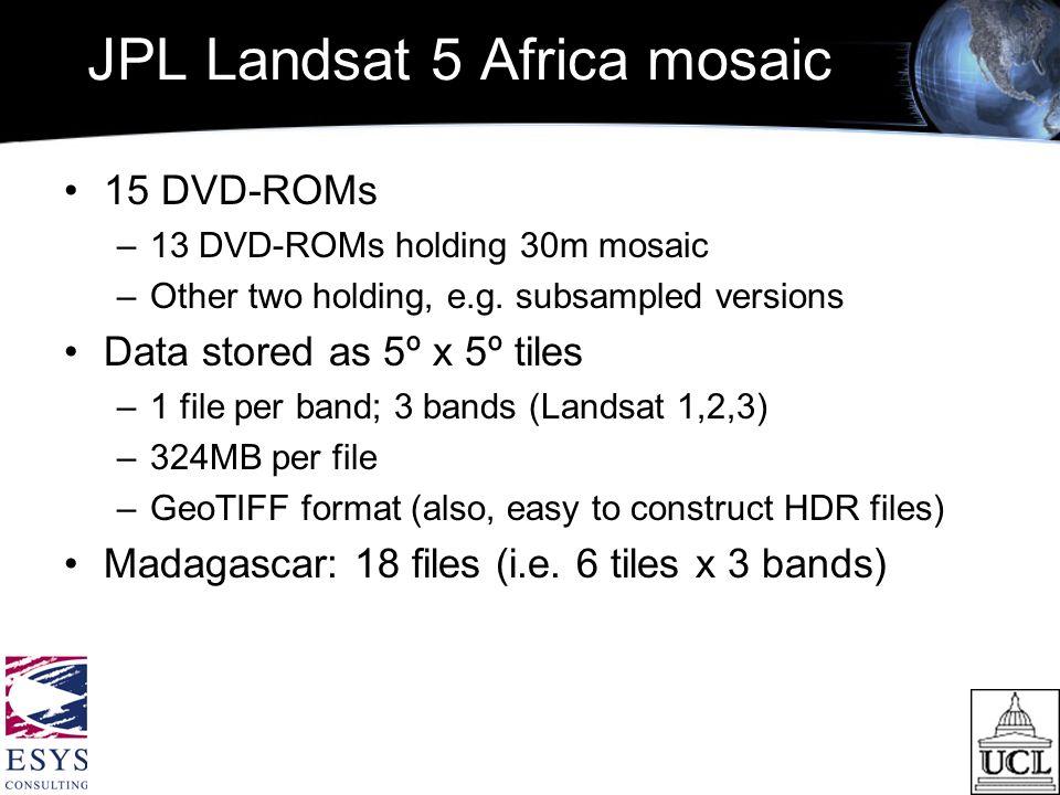 JPL Landsat 5 Africa mosaic 15 DVD-ROMs –13 DVD-ROMs holding 30m mosaic –Other two holding, e.g.
