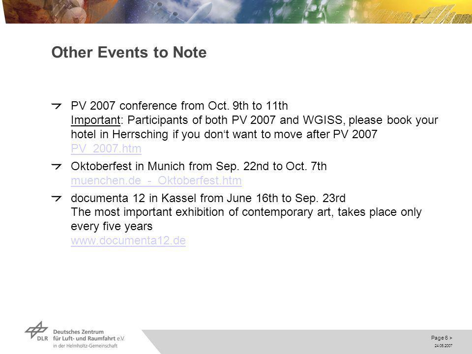 24.05.2007 Page 6 > Other Events to Note PV 2007 conference from Oct.