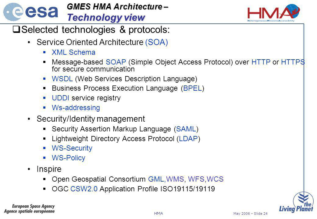 HMA May 2006 – Slide 24 GMES HMA Architecture – Technology view Selected technologies & protocols: Service Oriented Architecture (SOA) XML Schema Message-based SOAP (Simple Object Access Protocol) over HTTP or HTTPS for secure communication WSDL (Web Services Description Language) Business Process Execution Language (BPEL) UDDI service registry Ws-addressing Security/Identity management Security Assertion Markup Language (SAML) Lightweight Directory Access Protocol (LDAP) WS-Security WS-Policy Inspire Open Geospatial Consortium GML,WMS, WFS,WCS OGC CSW2.0 Application Profile ISO19115/19119