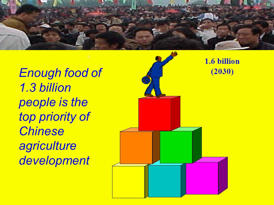 1.6 billion (2030) Enough food of 1.3 billion people is the top priority of Chinese agriculture development