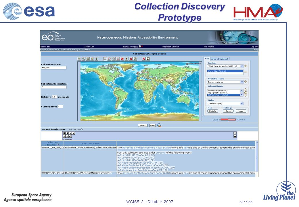 WGISS 24 October 2007 Slide 33 Collection Discovery Prototype