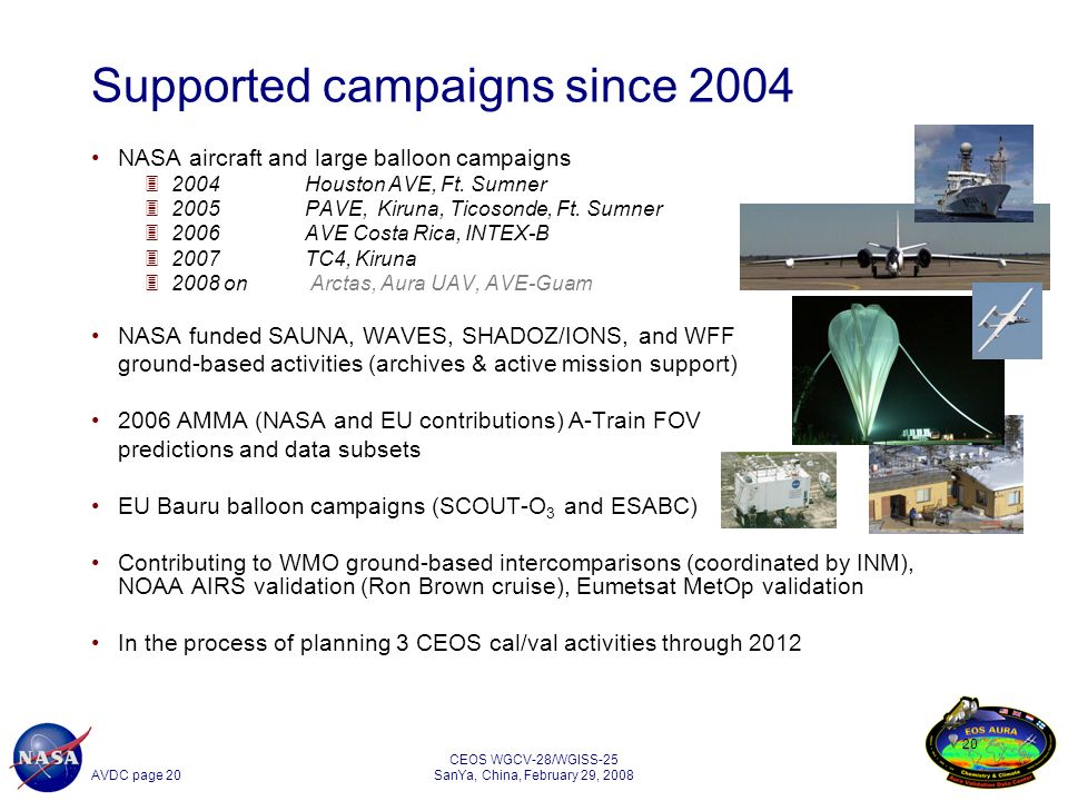AVDC page 20 CEOS WGCV-28/WGISS-25 SanYa, China, February 29, NASA aircraft and large balloon campaigns 32004Houston AVE, Ft.