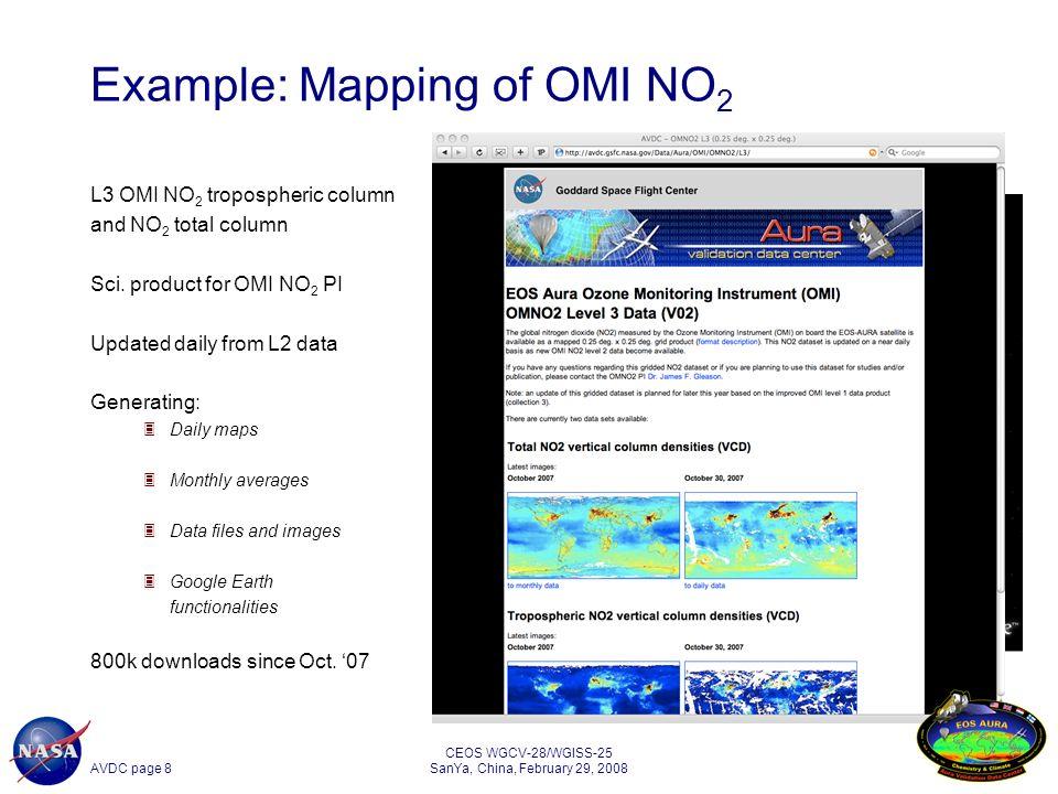 AVDC page 19 CEOS WGCV-28/WGISS-25 SanYa, China, February 29, 2008 19 Co-located TES data for SAUNA LIDAR/sonde latitude