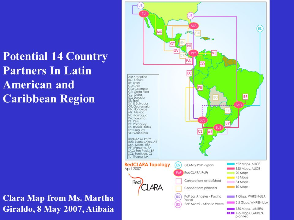 Potential 14 Country Partners In Latin American and Caribbean Region Clara Map from Ms.