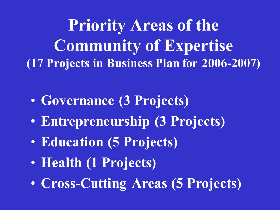 Priority Areas of the Community of Expertise (17 Projects in Business Plan for 2006-2007) Governance (3 Projects) Entrepreneurship (3 Projects) Education (5 Projects) Health (1 Projects) Cross-Cutting Areas (5 Projects)