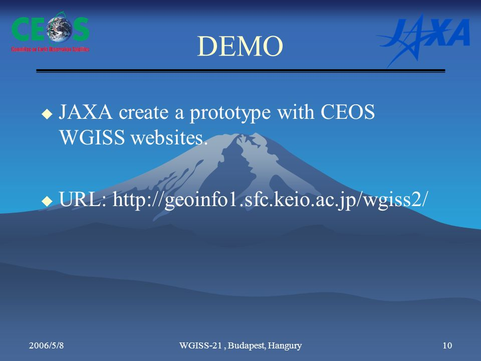 2006/5/8WGISS-21, Budapest, Hangury10 DEMO JAXA create a prototype with CEOS WGISS websites.