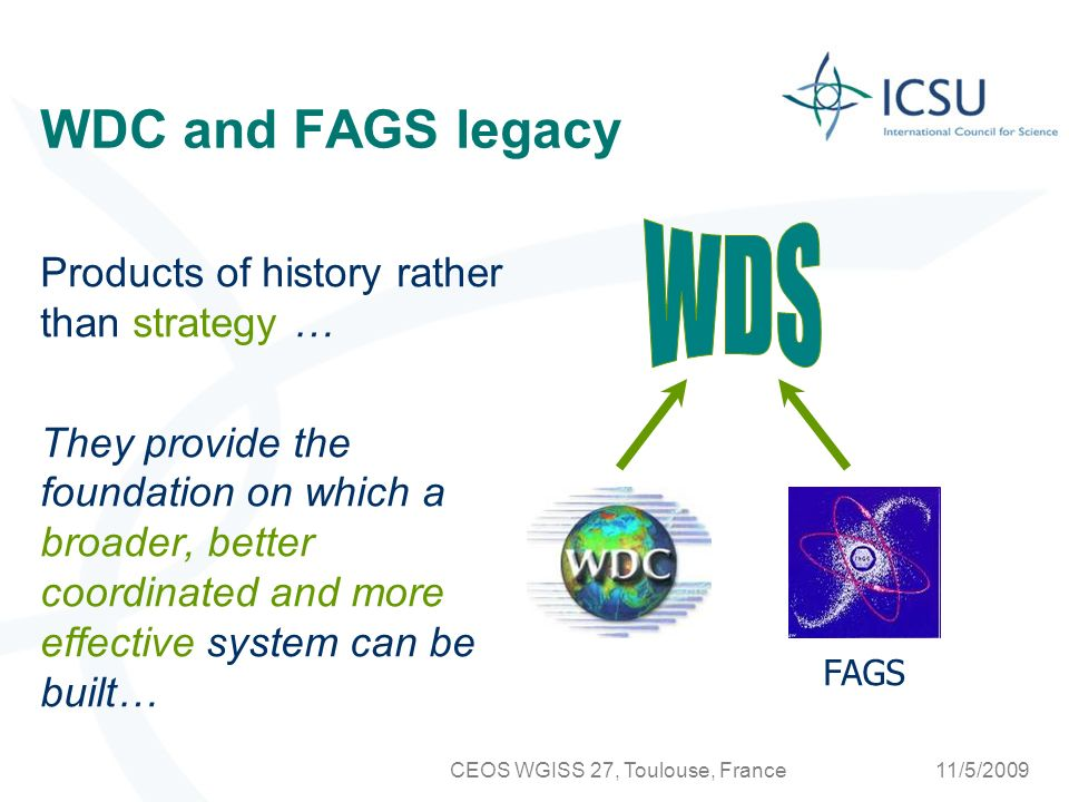 11/5/2009CEOS WGISS 27, Toulouse, France Data publication (2009-2011) Stimulate the development of formal, peer-reviewed data publications accompanied by formal citation procedures and author recognition.