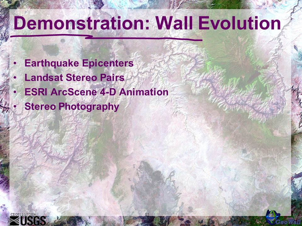 CEOS11/17/2004 15 Demonstration: Wall Evolution Earthquake Epicenters Landsat Stereo Pairs ESRI ArcScene 4-D Animation Stereo Photography