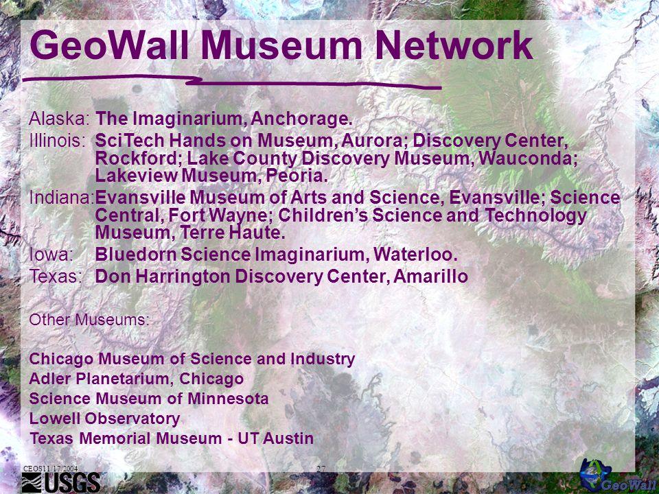 CEOS11/17/2004 27 GeoWall Museum Network Alaska:The Imaginarium, Anchorage.