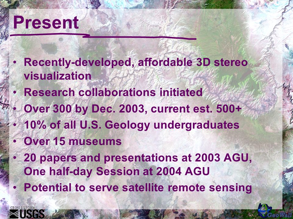 5 Present Recently-developed, affordable 3D stereo visualization Research collaborations initiated Over 300 by Dec. 2003, current est. 500+ 10% of all
