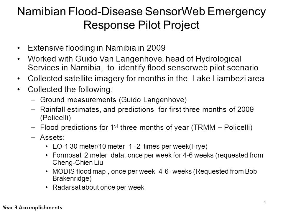 Namibian Dept of Hydrology installing flood gauges and rain gauges Will correlate ground measurements with satellite imagery to calibrate imagery and thus improve flood forecast models NASA will improve our flood forecast model and assist in improving Riverwatch system (Dartmouth Flood Observatory) Namibian Flood-Disease SensorWeb Emergency Response Pilot Project Year 3 Accomplishments 5