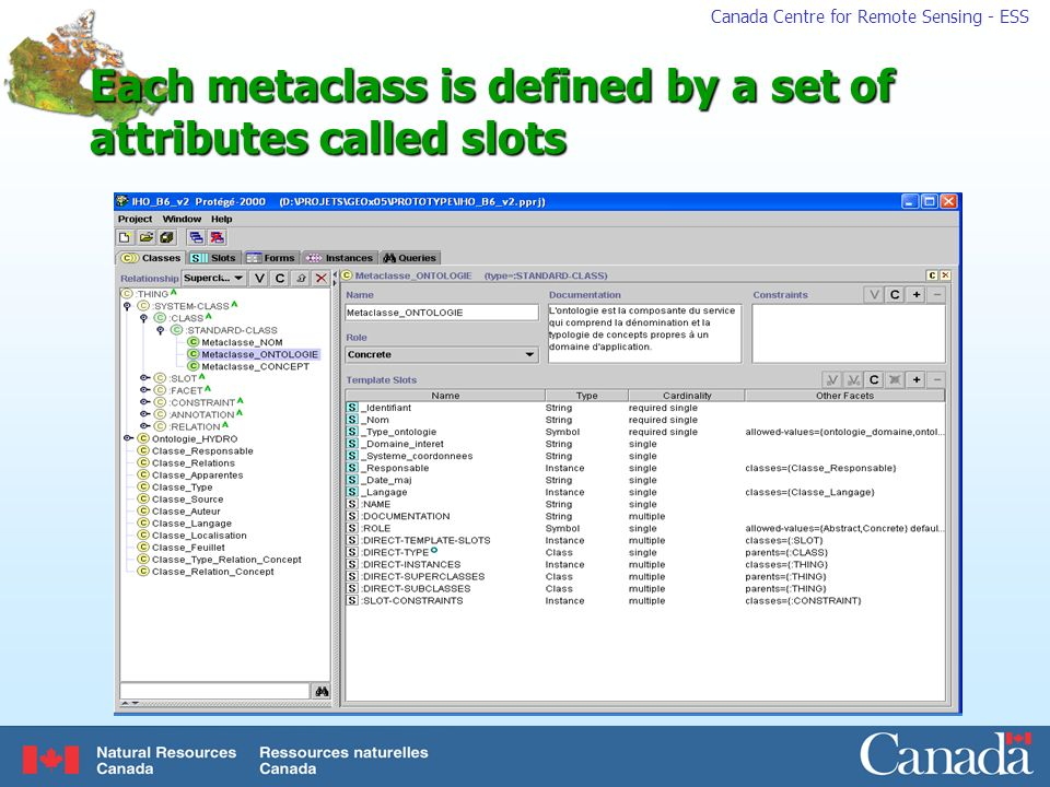 Canada Centre for Remote Sensing - ESS Each metaclass is defined by a set of attributes called slots